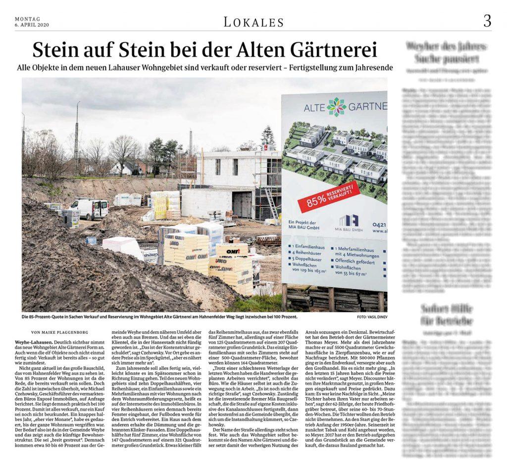 WESER-KURIER   Regionale Rundschau   Maike Plaggenborg   06.04.2020